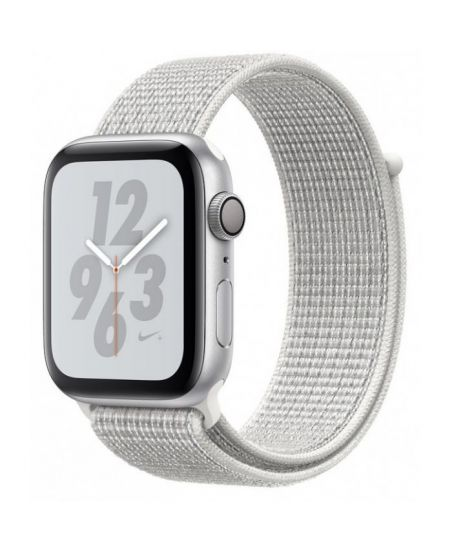 Apple Watch Nike+ Series 4 44 мм, корпус из серебристого алюминия, спортивный браслет Nike цвета «снежная вершина»