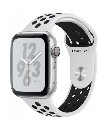 Apple Watch Nike+ Series 4 44 мм, корпус из серебристого алюминия, спортивный ремешок Nike цвета чистая платина/черный