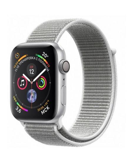 Apple Watch Series 4, 44 мм, корпус из серебристого алюминия, спортивный браслет цвета «белая ракушка»