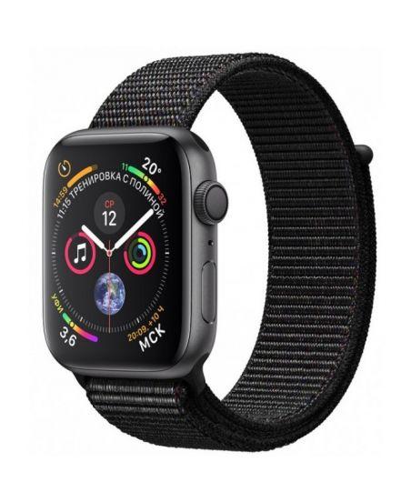 Apple Watch Series 4, 44 мм, корпус из алюминия цвета «серый космос», спортивный браслет черного цвета