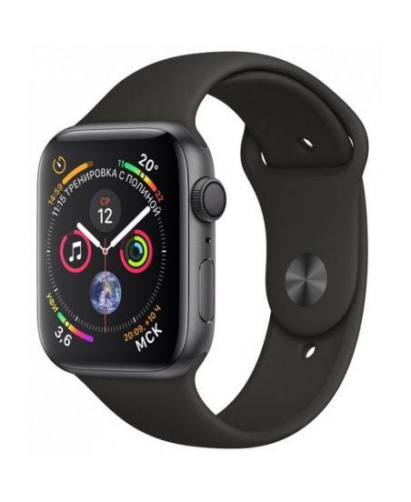 Apple Watch Series 4, 44 мм, корпус из алюминия цвета «серый космос», спортивный ремешок черного цвета