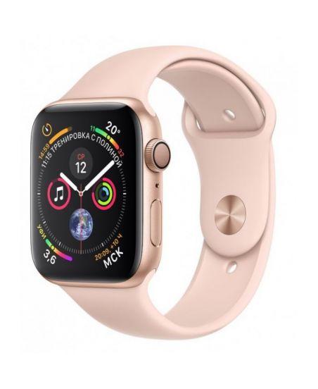 Apple Watch Series 4, 44 мм, корпус из золотистого алюминия, спортивный ремешок цвета «розовый песок» (золотистый)