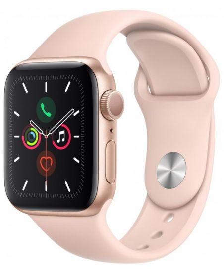 Умные часы Apple Watch Series 5, 44 мм, корпус из алюминия цвета «розовое золото», спортивный ремешок цвета «розовый песок»