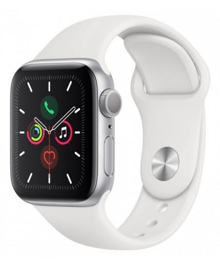 Умные часы Apple Watch Series 5, 40 мм, корпус из алюминия цвета «серебряный», спортивный ремешок цвета белый