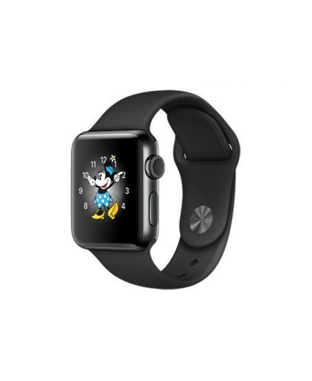 Apple Watch Series 2, 38 мм, корпус из нержавеющей стали, цвета «чёрный космос», спортивный ремешок чёрного цвета