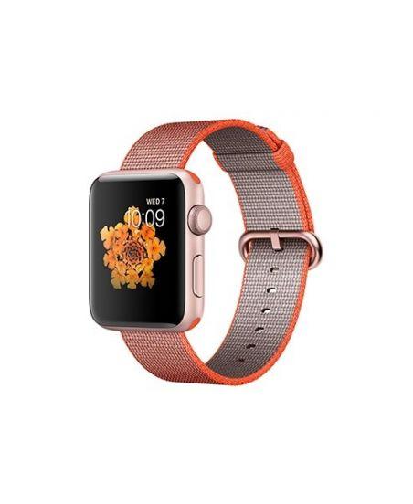 Apple Watch Series 2, 42 мм, корпус из алюминия, цвета «розовое золото», ремешок из плетёного нейлона цвета «оранжевый космос/антрацит»