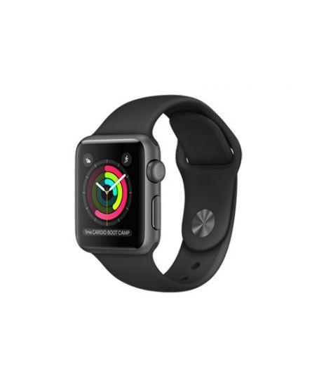 Apple Watch Series 2, 38 мм, корпус из алюминия, цвета «серый космос», спортивный ремешок чёрного цвета
