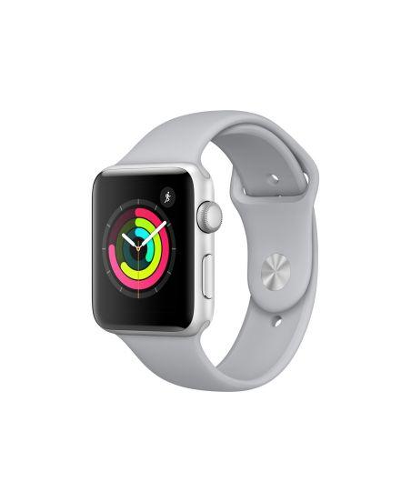 Apple Watch Series 3, 42 мм, корпус из серебристого алюминия, спортивный ремешок дымчатого цвета